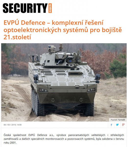 SECURITY magazin - EVPU Defence - a complete solution of optoelectronic systems for the 21st century battlefield