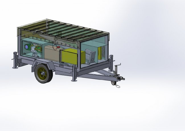 Surveillance trailer with electro-optical system - monitoring from up to 10 m above the ground
