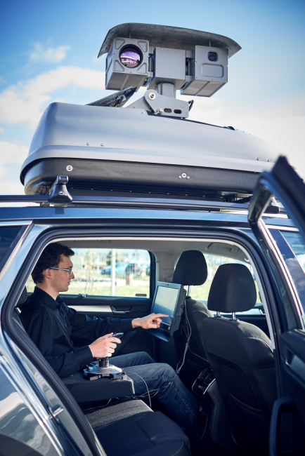 Electro-Optical Surveillance Roof Box System - touch screen monitor and joystick